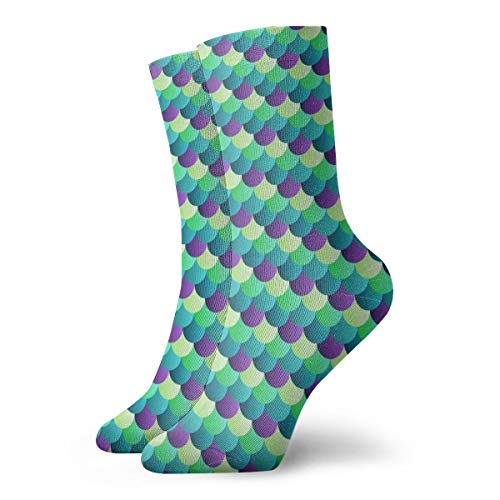 High Ankle Crew Keep Warm Sock, Cushion Sole Multi Performance Sock, Beautiful Mermaid Fish Scales Art Turquoise Green