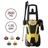 Realm BY02-BIMK 2600PSI 1.75GMP 14.5AMP Electric Pressure Washer with Brushless Induction Motor,Spray Gun,5 Spray Tips,Built in Soap Dispenser   Extra Low Sound   Power Efficiency 55lbs, Yellow Black