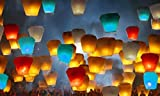 Sky Lanterns - 100% Biodegradable Environmentally Friendly Paper Lanterns Multi-Color Assortment for Birthdays, Weddings, Parties, New Years, Memorial Ceremonies and More (10 Pack)