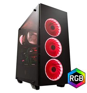FSP ATX Mid Tower PC Computer Gaming Case with 3 Tempered Glass Panels and 5 RGB Lighting Modes (CMT510)