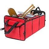 XBRN Trunk Organizer Car Storage, Van SUV Cargo Organization Container Toys Food Storage, Auto Travel Bag with Cooler Set (Red)