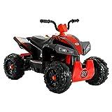 Uenjoy 12V Quad ATV for Kids 4 Wheeler Battery Powered Car Electric Ride On Car w/ Wheels Suspension, 2 Speeds, LED Lights, Red