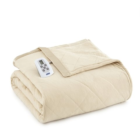 Shavel Home Products Micro Flannel Solid Electric Heated Blanket Chino King/California King
