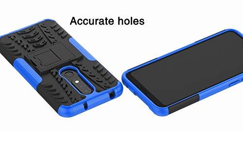 Prime Retail Nokia 6.1 Plus Hybrid Armor Back Cover Case with Kickstand Wheel Pattern for Nokia 6.1 Plus(Blue) 4