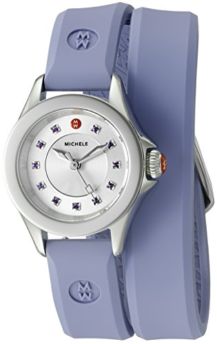 41bEODbEn0L Round silver-tone watch featuring sword-shape hands, logo at 12 o'clock, and purple topaz markers 25 mm stainless steel case with mineral dial window Quartz movement with analog display