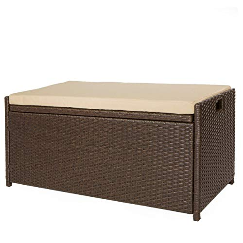 Victoria Young Resin Wicker Deck Box Storage Bench Container with Seat and Cushion Indoor...