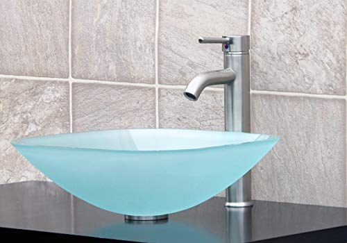 ELIMAX'S GD04F Frosted Square Glass Vessel Sink + Brush Nickel Faucet L07, Pop Up Drain & Mounting Ring