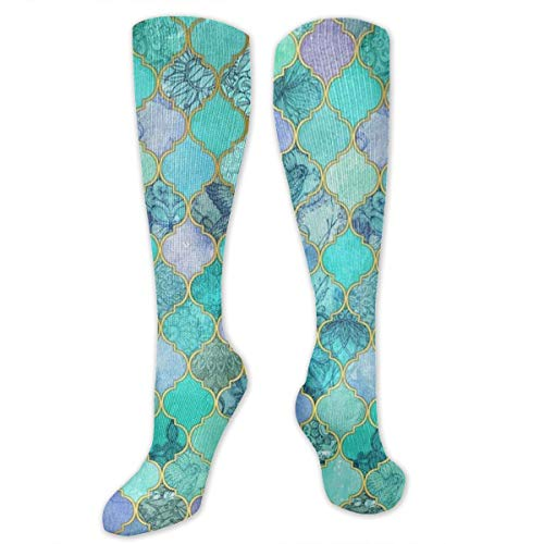 Hiker Crew Cushion Socks - Mermaid Fish Scales Mint Green - Compression Non-Slid Crew Socks for Junior Girls Baseball Snow Stocking
