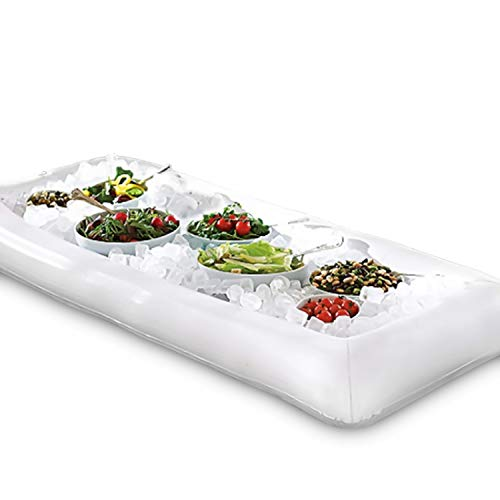 Novelty Place [LARGE SIZE] Inflatable Ice Serving Buffet Bar with Drain Plug - Salad Food & Drinks Tray for Party Picnic & Camping (Pack of 1)