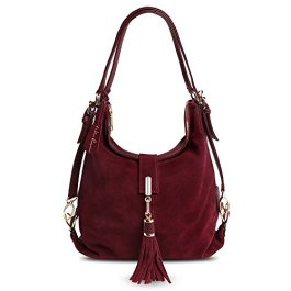 Nico Louise Women Genuine Suede Leather Tassel Handbag Backpack Shoulder Bag