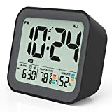 KUCOOLE Battery Operated Digital Alarm Clocks for Bedrooms, Simple Travel Alarm Clock with Indoor Thermometer, Hygrometer, Snooze, Dual Alarm, Loud Buzzer - Black