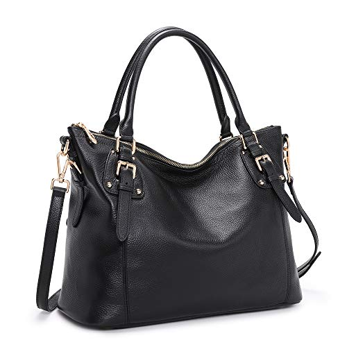 Kattee-Womens-Genuine-Leather-Handbags-Shoulder-Tote-Organizer-Top-Handles-Crossbody-Bag-Satchel-Designer-Purse-Black