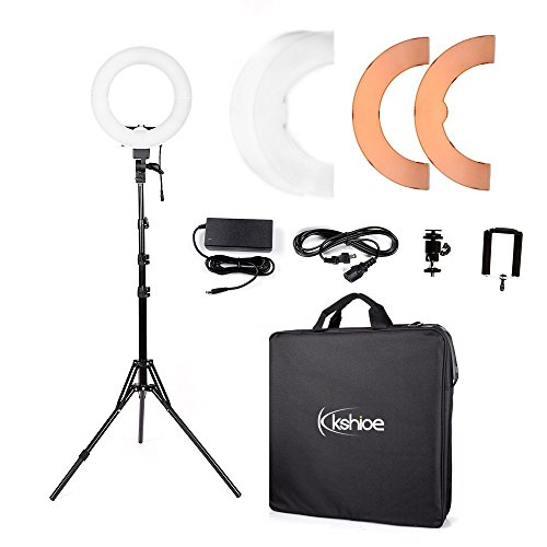 "Kshioe 8""/12"" Dimmable Led Ring Light, Continuous Lighting Kit Photography Photo Studio light for Makeup, Camera Smartphone Youtube Video Shooting"