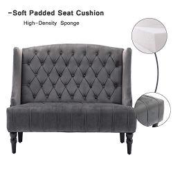 Altrobene Velvet Loveseat, Modern Sofa Couch for Two People, Tall Wingback, Tufted Nailhead, Wooden Legs, Grey