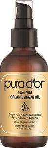 PURA D'OR Organic Moroccan Argan Oil 100% Pure Cold Pressed & USDA Organic Moisturizing Treatment for Face, Hair, Skin & Nails, 4 Fl Oz