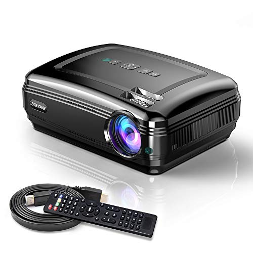 Video Projectors, SOLOVE HDMI Projector Full HD 1080P Home Theater Projector for Movie and PowerPoint Presentation for Laptop PC TV iPhone Android