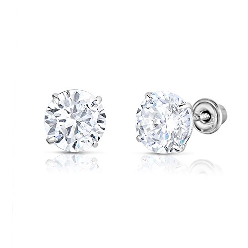 14k White Gold Solitaire Round Cubic Zirconia CZ Stud Earrings in Secure Screw-backs (5mm)