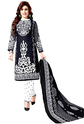 Sarit Stylup Cotton Printed Salwar Suit Unstitched Dress Material For Woman (ST07BL1K120 Black and White Free Size)