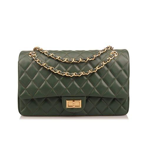 Ainifeel Women's Genuine Leather Quilted Chain Bag Shoulder Handbags Purse (Medium, Green)