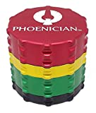 Phoenician Herbal Grinder - Medium 4 Piece - Rasta with 2 Rolling Paper Depot Doobtubes
