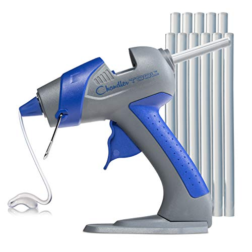 Chandler Tool Mini Glue Gun - 25 Watt - Hot Glue Sticks & Patented Base Stand Included - for Arts Crafts School Home Repair DIY (Blue)