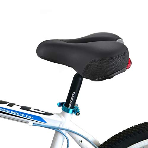 PRYMAX Bike Seat, Most Comfortable Wide Bike Saddle, Memory Foam Padded with Dual Shock Absorbing Ball Suspension Bicycle Seat, Women and Men Bicycle Saddle, Waterproof Taillight, Fit Most Bikes
