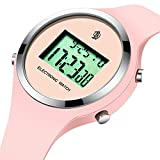 Watch,Girls Digital Jelly Watch Elegant Sports Waterproof Watch,Simple Cute Wrist Watches with Alarm Stopwatch Outdoor LED Multi Functional Wrist Watches (Pink)