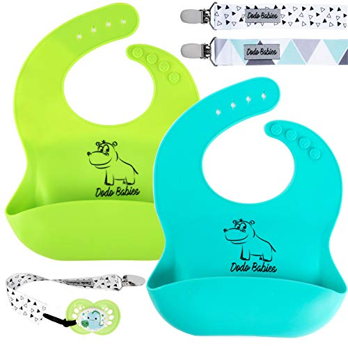 Baby Silicone Bib by Dodo Babies + 2 Pacifier Clips, Waterproof and easy to Clean Pack of 2 Premium Quality For Boys or Girls , Excellent Baby Shower / Registry Gift