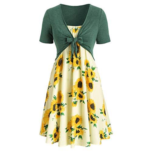 Women Dress Casual Short Sleeve Dress Floral Print Mini Dress Suits Bow Knot Bandage Top ... (M, Green)