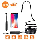 DBPOWER 2MP HD WiFi Endoscope Semi-Rigid Cable 6 Adjustable Led IP67 Waterproof Borescope Inspection Snake Camera for Android, iPhone, iPad, Samsung&Tablet (10M/32.8ft)