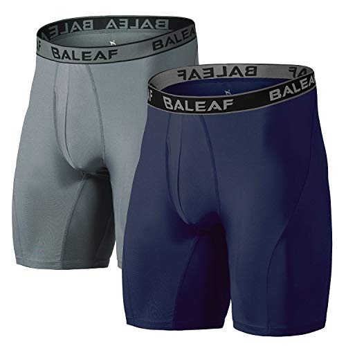 "Baleaf 9"" Men's Active Underwear Sport Cool Dry Performance Boxer Briefs with Fly Grey/Navy Size XL(2-Pack)"