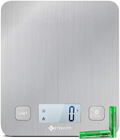 Etekcity Food Kitchen Scale, Digital Grams and Oz for Cooking, Baking, and Weight Loss, Christmas Gift for Holiday Meal Prep, Large, Stainless Steel 1