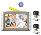 MoonyBaby Baby Monitor with 2 Cameras Split Screen, Wide View, 5 Inches LCD Video, Long Range, Automatic Night Vision, Temperature Monitoring, 2 Way Talk Back, Power Saving, High Capacity Battery