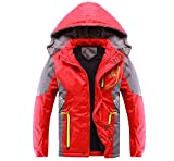 Valentina Latest Boys Thicken Fleece Hooded Jacket Warm Quilted Coat Outdoor Cool Cute Fashion for Winter Autumn Spring (Red, 10 - Height 52'-55')
