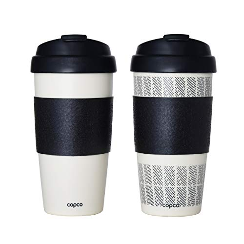 Copco 5237160 Reusable Set of 2 Insulated Double Wall Travel Mugs 16-ounce White/Black