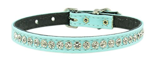 Evans Collars 3/8' Jeweled Collar, Size 12, Solid Cotton, Robin Egg
