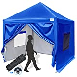 Quictent Privacy 10x10 EZ Pop Up Canopy Tent Instant Canopy Folding Party Tent with Sidewalls and Mesh Windows Waterproof -8 Colors (Royal Blue)