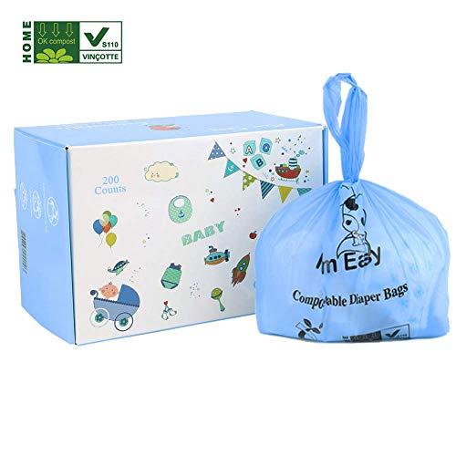 MOM EASY Biodegradable Poop Bags Tie Handle, Compostable Diaper Sacks, 200 Counts Diaper Bags Blue Color