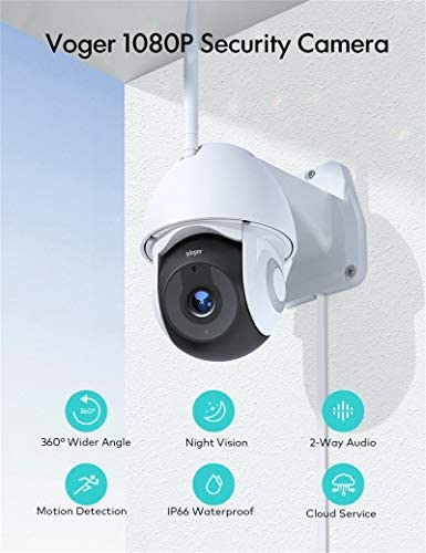 Security Camera Outdoor, Voger 360° View WiFi Home Security Camera System 1080P with IP66 Weatherproof Motion Detection Night Vision 2-Way Audio Cloud Camera Works with Alexa and Google Home 13