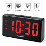 PEAKEEP 6.8' Large Night Light Digital Alarm Clock with USB Charging Port, Dimmers for 1.8' Digits and Nightlight, High Low Loud Alarm Volume, Day, DST, AC Powered for Bedrooms Bedside
