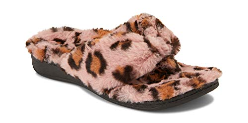 Vionic Women's Indulge Relax Plush Slipper - Adjustable Slipper with Concealed Orthotic Support Pink Leopard 9 Medium US