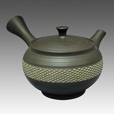 TOKYO MATCHA SELECTION - Tokoname Kyusu teapot - SHUHO - Cloth Belt Black 270cc/ml - sasame ceramic fine mesh with wooden box [Standard ship by Int'l e-packet: with Tracking & Insurance]
