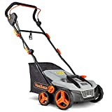 VonHaus 12.5 Amp Corded 15' Electric 2 in 1 Lawn Dethatcher Scarifier and Aerator with 5 Working Depths and 45L Collection Bag - Perfect for Lawn Health and Maintenance