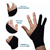 Artist's Drawing Anti-Fouling Glove with Two Fingers for Graphics Tablets (M)