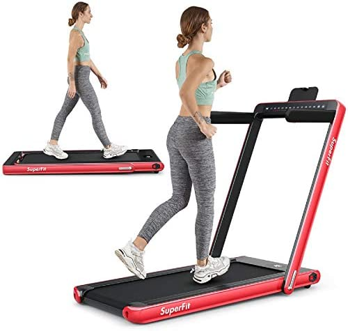 Goplus 2 in 1 Folding Treadmill with Dual Display, 2.25HP Under Desk Electric Pad Treadmill, Installation-Free, Bluetooth Speaker, Remote Control, Walking Jogging Machine for Home/Office Use 1
