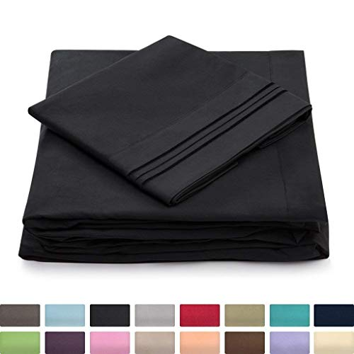 Twin XL Size Bed Sheets - Black Twin Extra Long Bedding Set - Deep Pocket - Ultra Soft Luxury Hotel Sheets- Hypoallergenic - Cool & Breathable - Wrinkle, Stain, Fade Resistant - 3 Piece