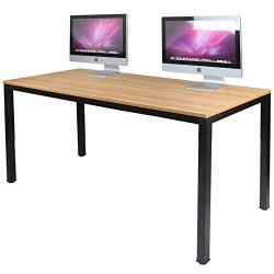 DlandHome 55 inches Large Computer Desk, Composite Wood Board, Decent and Steady Home Office Desk/Workstation/Table, BS1-140TB Teak and Black Legs, 1 Pack