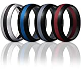 ThunderFit Mens Silicone Rings Wedding Bands - 4 Pack Classic & Middle Line (Black Middle Red, Black Middle Dark Grey, Silver Middle Black, Black Middle Blue, 10.5-11 (20.6mm))