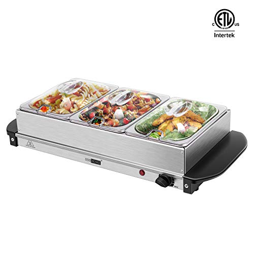 VIVOHOME 3 x 2.5 Qt Stainless Steel Electric Buffet Server with Triple Food Warming Trays for Home ETL Listed
