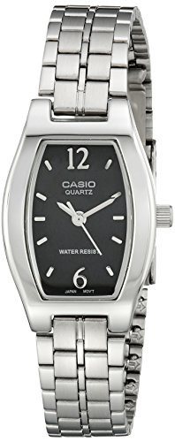 41cG5gNImZL Dress watch in silver-tone stainless steel featuring black dial and silver-tone numeral and baton hour markers Quartz movement with  display Protective mineral crystal dial window